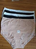 Набор больших женских хлопковых трусов из 5-штук, однотонное белье с кружевом, Турция, размер 60(6XL).