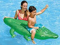 Детский надувной плотик для плавания и катания Крокодил Intex 58546 с ручкой | Платформа Крокодильчик Интекс