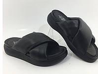 Турецкие кожаные шлёпанцы чёрные мягкие полномерные, фото 1