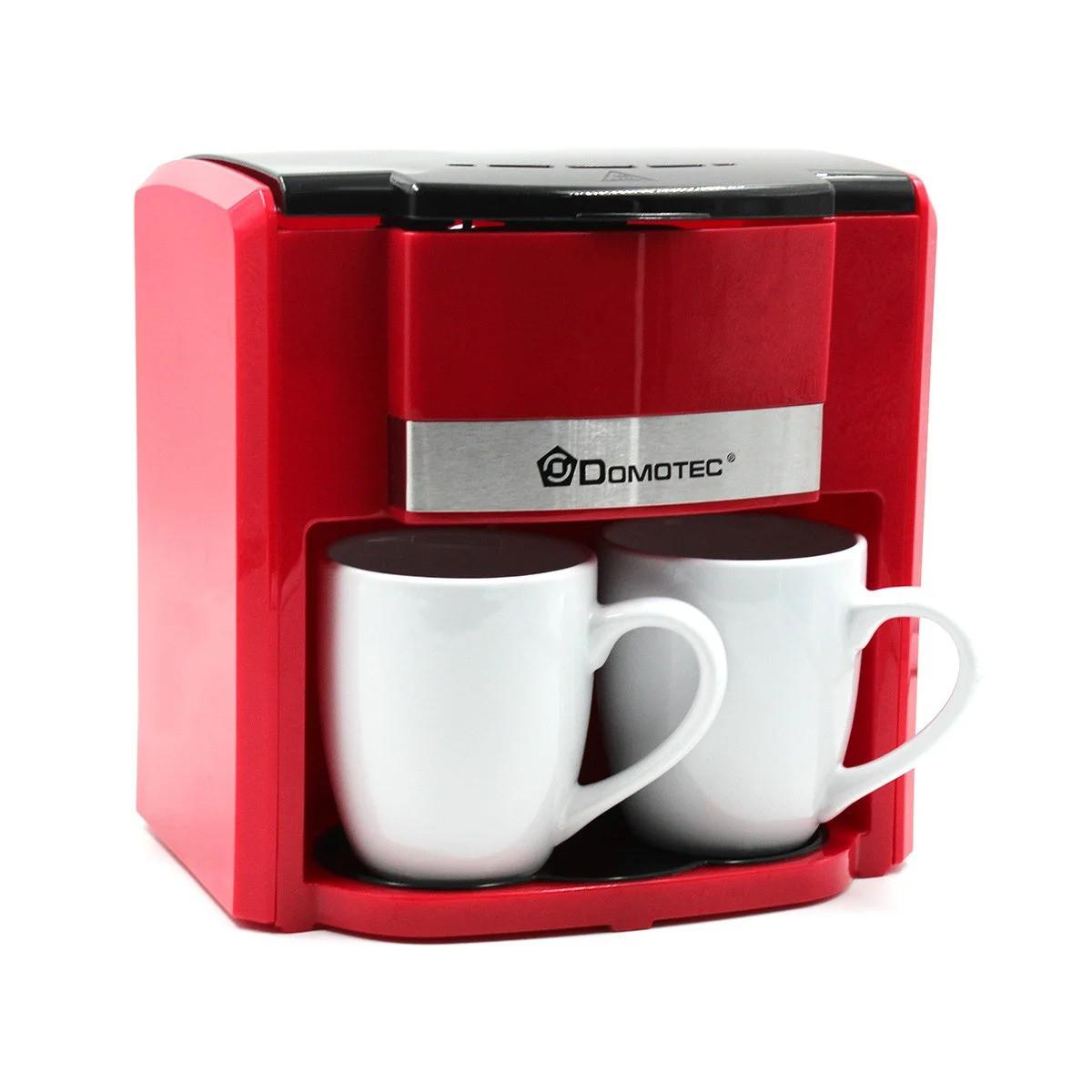 Капельная кофеварка 300 мл Domotec MS-0705 + 2 чашки / Кофемашина 500 Вт Красная