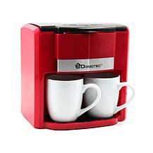 Капельная кофеварка 300 мл Domotec MS-0705 + 2 чашки / Кофемашина 500 Вт Красная, фото 3