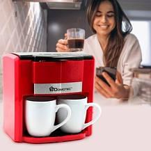 Капельная кофеварка 300 мл Domotec MS-0705 + 2 чашки / Кофемашина 500 Вт Красная, фото 2