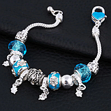 Жіночий браслет з шармами блакитний код 1610, фото 2