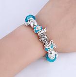 Жіночий браслет з шармами блакитний код 1610, фото 3