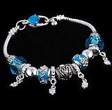 Жіночий браслет з шармами блакитний код 1610, фото 4