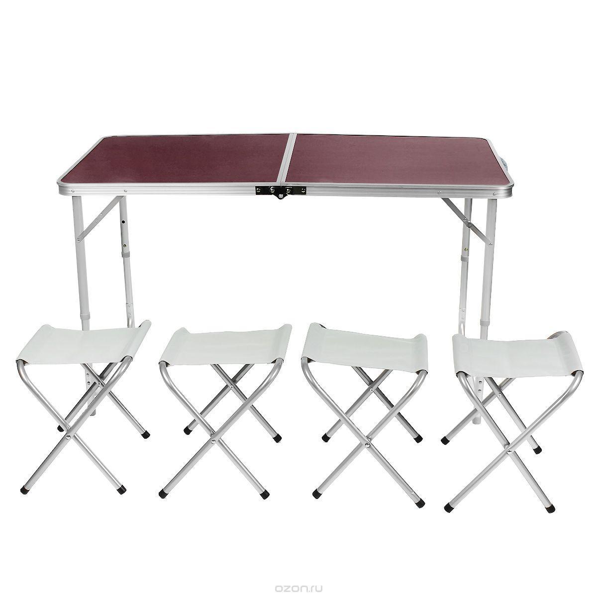 Стол для пикника раскладной со стульями Folding Table Коричневый, 120 х 70 см