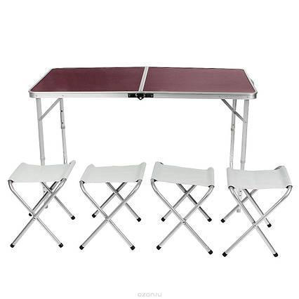 Стол для пикника раскладной со стульями Folding Table Коричневый, 120 х 70 см, фото 2