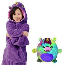 Детский плед с капюшоном и рукавами / толстовка Huggle Pets Hoodie Синий, фото 2