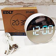 Настольные электронные LED часы зеркальные DT-6505, фото 3
