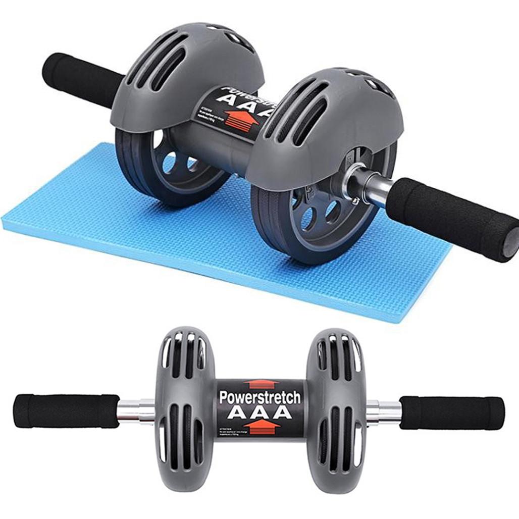 Тренажер колесо подвійної дії Power Stretch Roller для преса, рук, спини / Подвійний ролик з поверненням