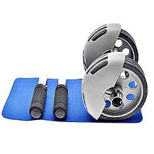 Тренажер колесо подвійної дії Power Stretch Roller для преса, рук, спини / Подвійний ролик з поверненням, фото 3