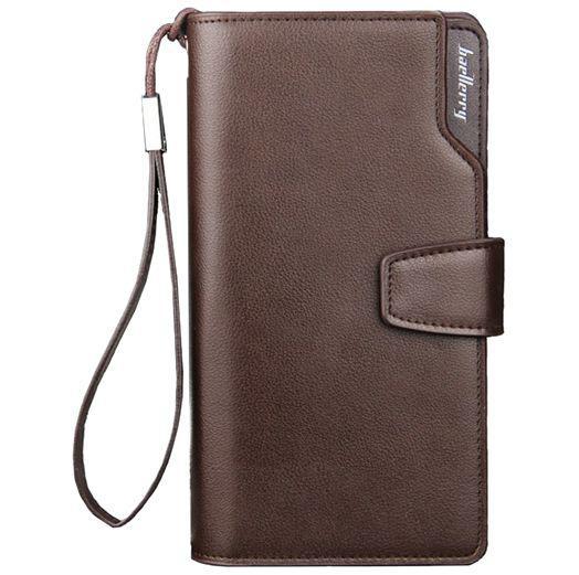 Кожаный мужской кошелек Baellerry Business (19,5 х 10 х 3 см) Коричневый