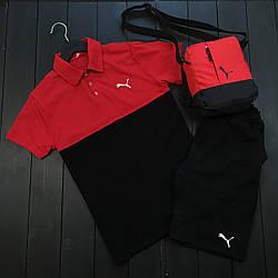Puma Пума Мужской спортивный костюм/комплект красный лето. Поло+ шорты +мессенджер хлопок Турция