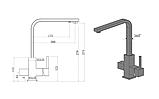 Смеситель для кухни комбинированный (3 в 1) с подключением фильтра Fabiano FKM 31.17 SS Nano Graphite, фото 2