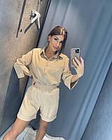 Летний прогулочный женский льняной костюм. Р-р: 42-44, 46-48. Цвет: черный, мята, горчица, голубой, беж, белый