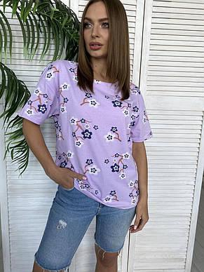 Сиреневая женская футболка 48-52рр., фото 2