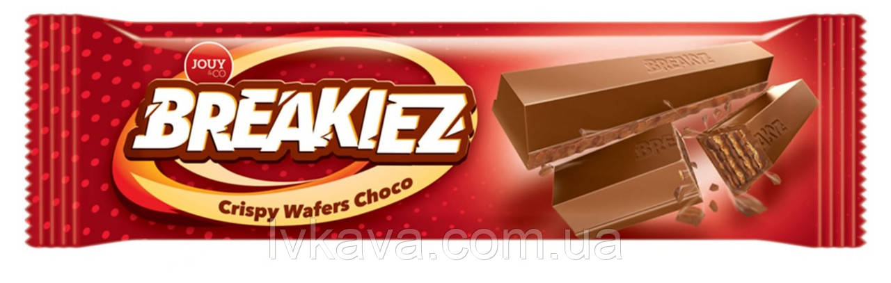 Шоколадний вафельний батончик Breakiez Crispy Wafers Choco Jouy & Co , 18 гр