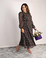 Женское длинное шифоновое платье большого размера.Размеры:46/64+Цвета, фото 1