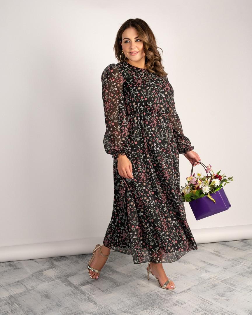 Женское длинное шифоновое платье большого размера.Размеры:46/64+Цвета