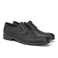 Літні туфлі дербі шкіряні чорні на широку ногу взуття високий підйом Rosso Avangard Derby RezBlack Perf