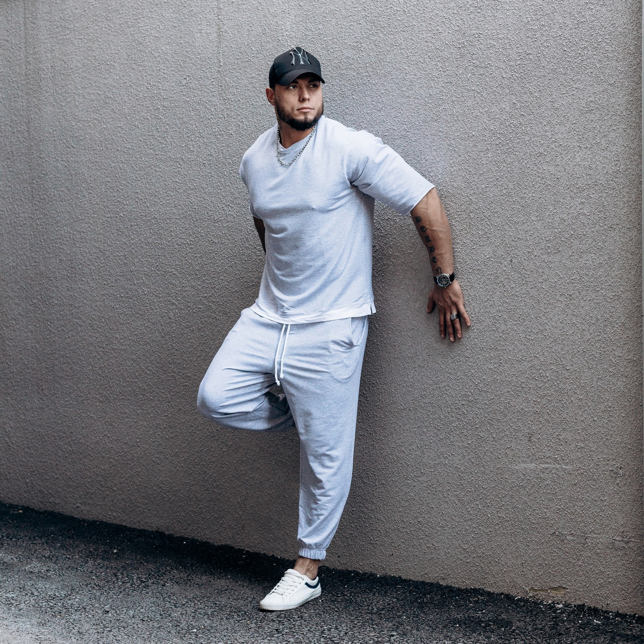 Мужской комплект ASOS over футболка + штаны , серый, S