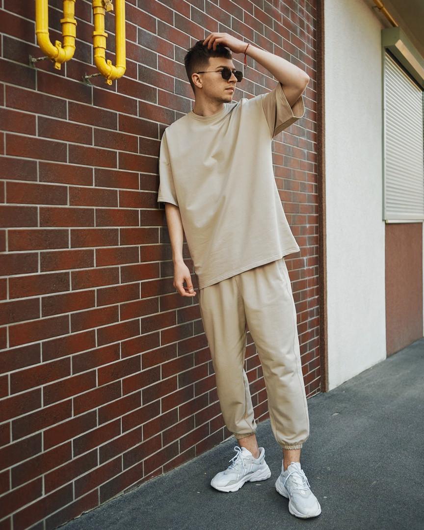 Чоловічий комплект Фортіс футболка + штани , бежевий