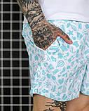 Мужские летние шорты, плащевка, белые с голубым, фото 3