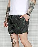 Мужские летние шорты, плащевка, черно зеленые, фото 2