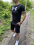 Чоловічий річний комплект (футболка+шорти), чорний, фото 2