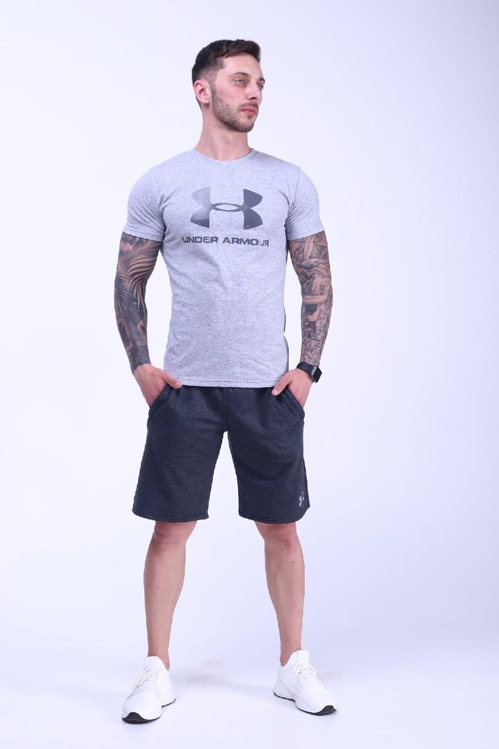 Чоловічий річний комплект (футболка+шорти), сірий з чорним