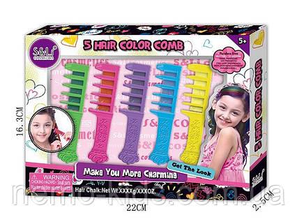 Набор мелков для волос с расческой, косметика для девочки, мелки для волос