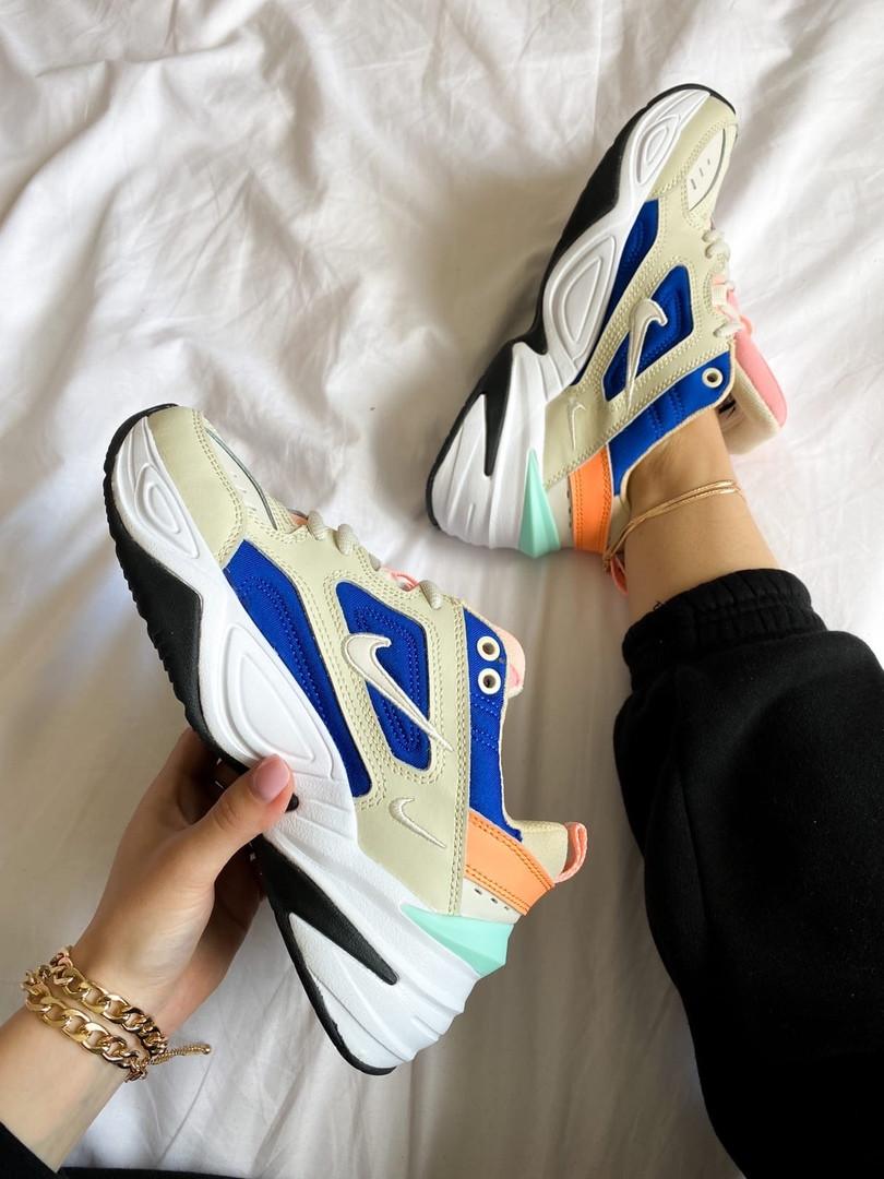 Женские кроссовки Nike M2K Tekno белые с синим