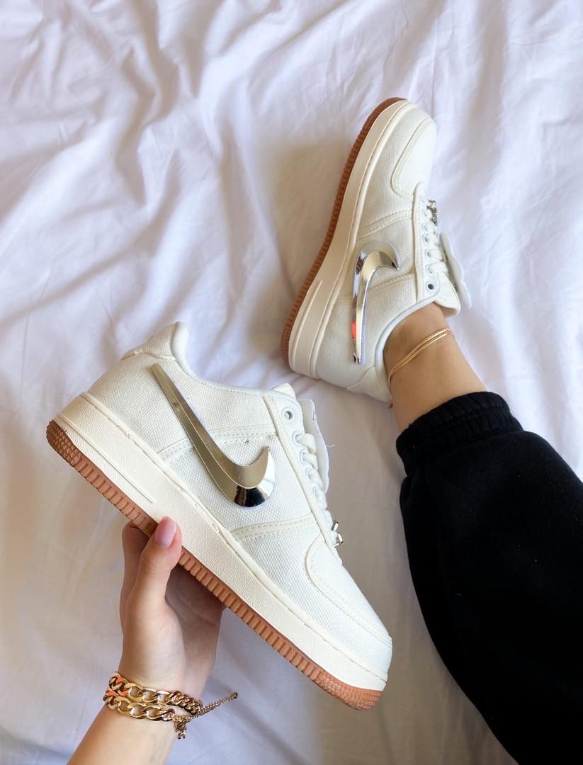 "Женские кроссовки Nike Air Force 1 ""Travis Scott"" белые"