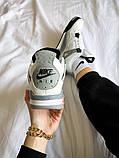 """Жіночі кросівки Nike Air Jordan 4 """"White Cement"""" білі з сірим, фото 2"""