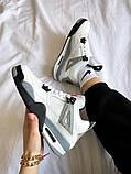 """Жіночі кросівки Nike Air Jordan 4 """"White Cement"""" білі з сірим, фото 3"""