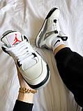 """Жіночі кросівки Nike Air Jordan 4 """"White Cement"""" білі з сірим, фото 4"""