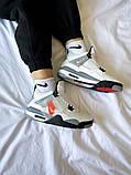 """Жіночі кросівки Nike Air Jordan 4 """"White Cement"""" білі з сірим, фото 6"""