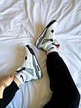 """Жіночі кросівки Nike Air Jordan 4 """"White Cement"""" білі з сірим, фото 7"""