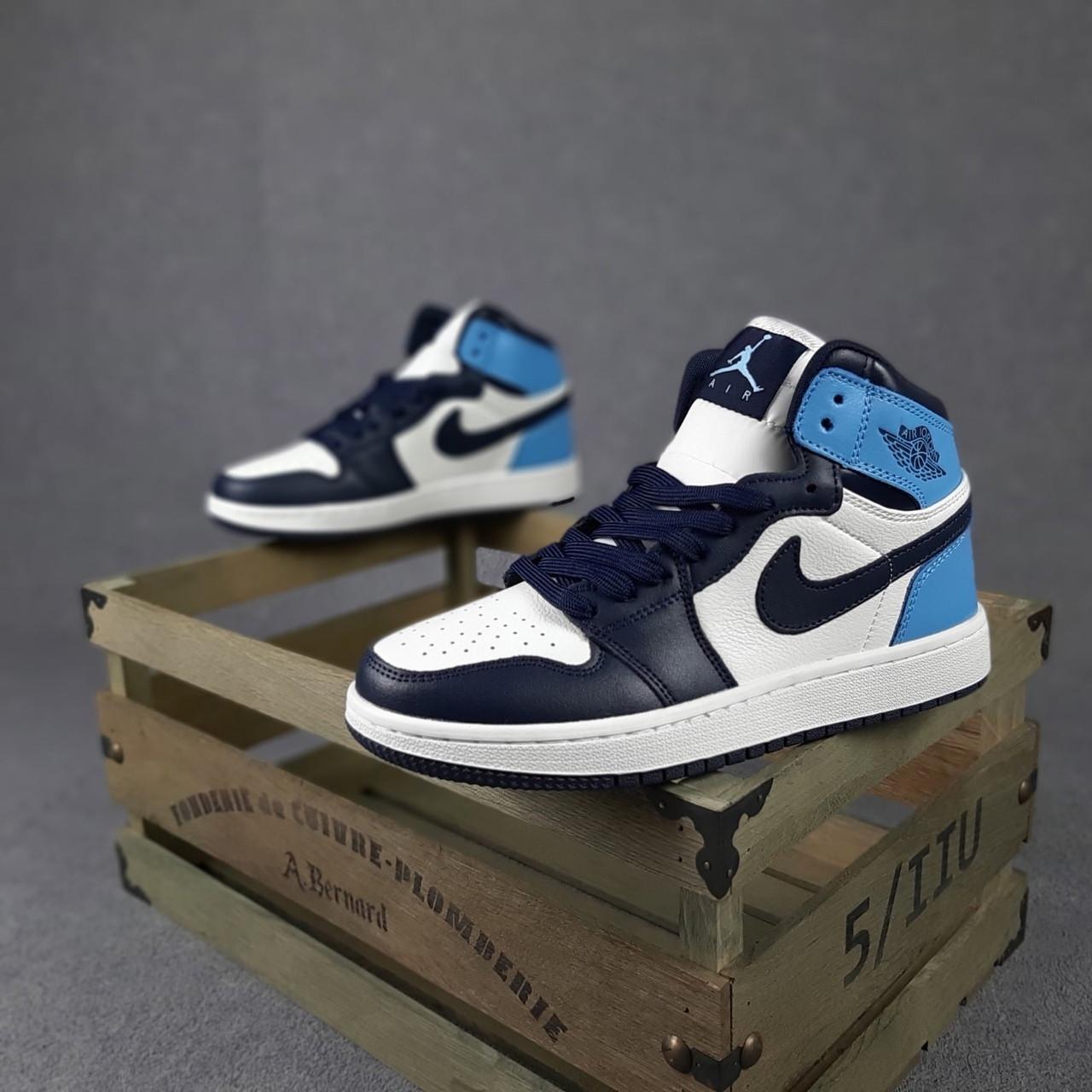 Чоловічі кросівки Jоrdan Білі з чорним і синім