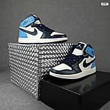 Чоловічі кросівки Jоrdan Білі з чорним і синім, фото 2