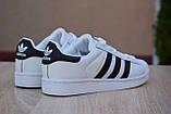 Жіночі кросівки Adidas SuperStar білі/чорні смужки, фото 3