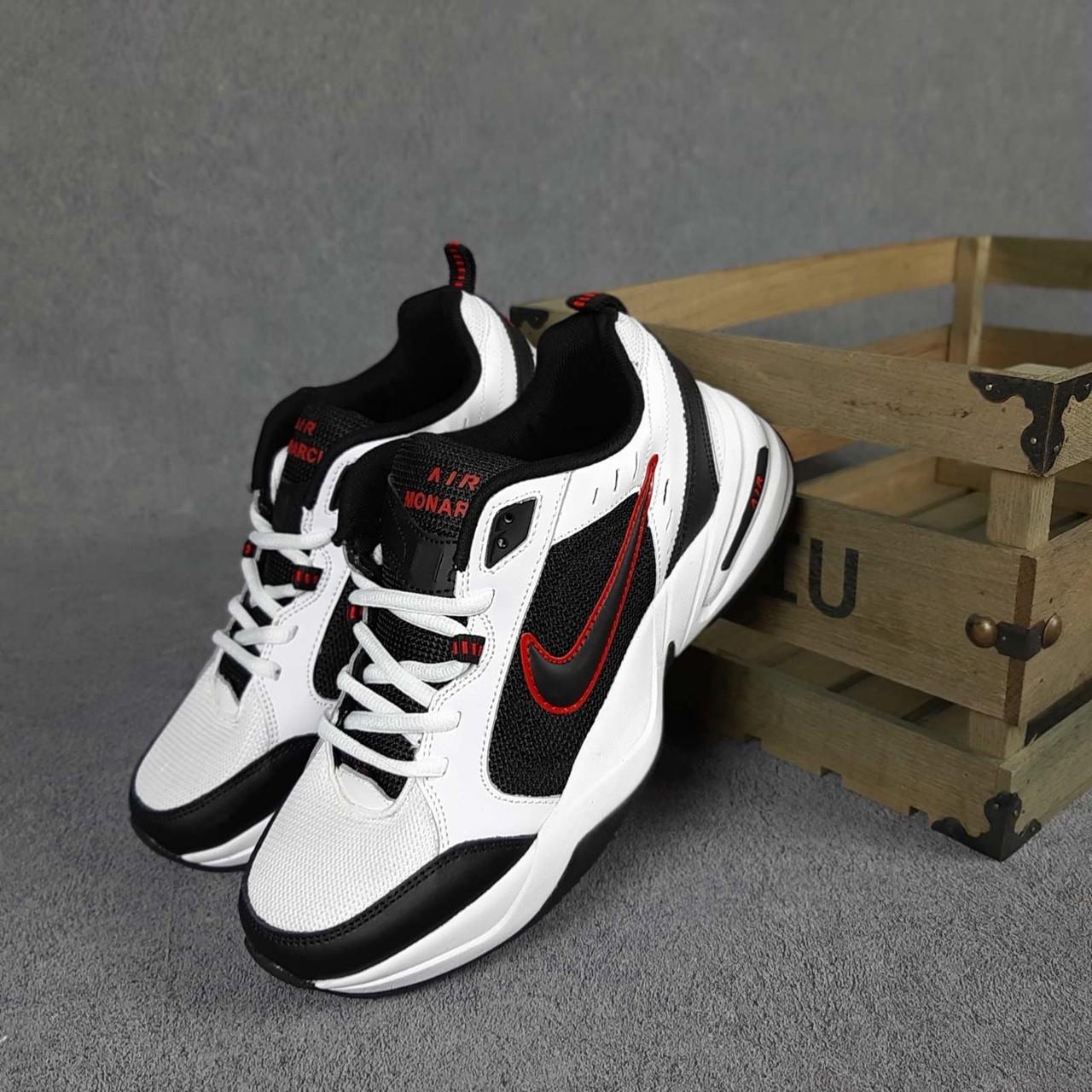 Мужские кроссовки Nike Air Monarch Белые с чёрным и красным