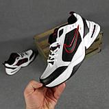Мужские кроссовки Nike Air Monarch Белые с чёрным и красным, фото 4