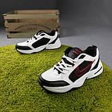 Мужские кроссовки Nike Air Monarch Белые с чёрным и красным, фото 5
