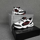 Мужские кроссовки Nike Air Monarch Белые с чёрным и красным, фото 6