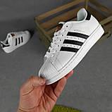 Женские кроссовки Adidas SuperStar Белые с чёрным, фото 3