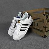 Женские кроссовки Adidas SuperStar Белые с чёрным, фото 4