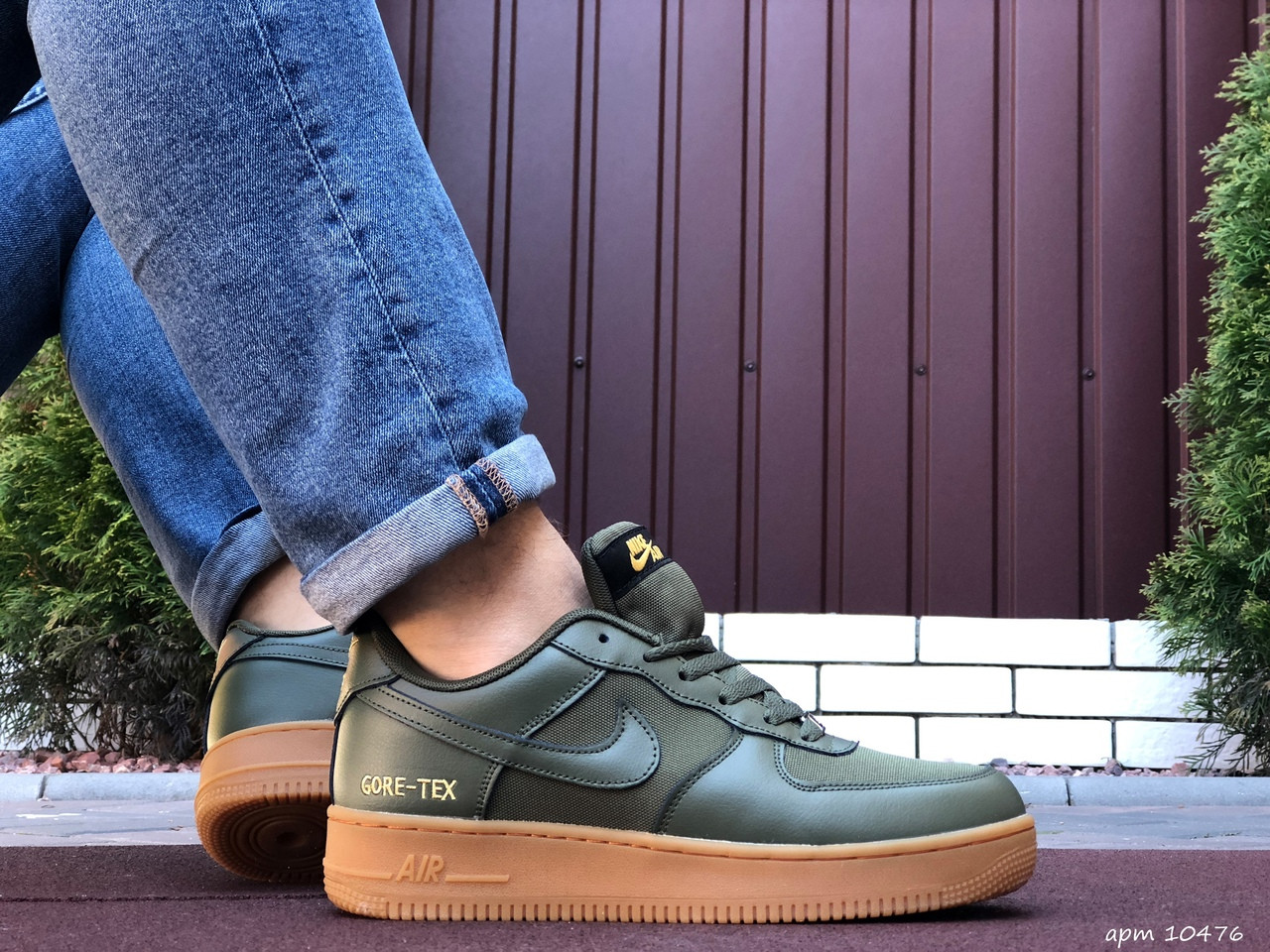 Мужские кроссовки Nike Air Force Gore Tex  темно зеленые