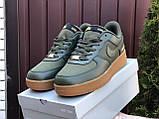 Мужские кроссовки Nike Air Force Gore Tex  темно зеленые, фото 2