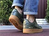 Чоловічі кросівки Nike Air Force Gore Tex темно зелені, фото 3